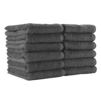 16 inch x 28 inch 100% Ring Spun Cotton Charcoal Bleach-Safe Hand Towel 3 lb. - 12/Pack
