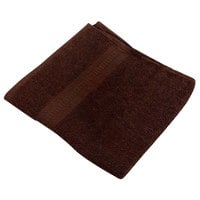 16 inch x 27 inch 100% Ring Spun Cotton Brown Hand Towel 3 lb. - 12/Pack