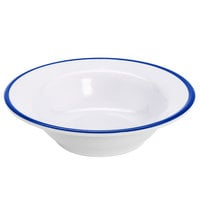 GET B-50-W/CB Settlement Bistro 4.5 oz. White Enamelware Melamine Small Round Side Dish with Cobalt Blue Trim   - 48/Case