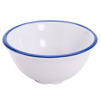 GET B-30-W/CB Settlement Bistro 3 oz. White Enamelware Melamine Small Round Side Dish with Cobalt Blue Trim   - 48/Case