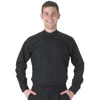 Henry Segal Men's Customizable Black Long Sleeve Band Collar Dress Shirt - XS