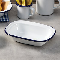 American Metalcraft EWB8 16 oz. White Rolled Rim Rectangular Bowl with Blue Rim