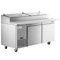 Avantco SSPPT-2 67 inch 2 Door Refrigerated Pizza Prep Table
