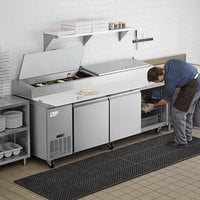 Avantco SSPPT-3 93 inch 3 Door Refrigerated Pizza Prep Table
