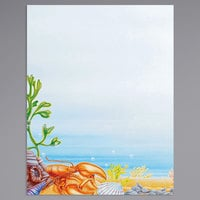8 1/2 inch x 11 inch Menu Paper - Seafood Themed Ocean Design Left Insert - 100/Pack