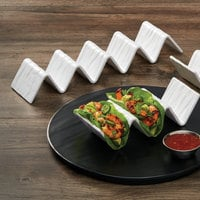 American Metalcraft THMW5 White Faux-Slate Melamine Taco Holder with 4 or 5 Compartments - 13 1/4 inch x 3 inch x 2 inch