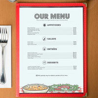 8 1/2 inch x 11 inch Menu Paper - Diner Theme Middle Insert - 100/Pack
