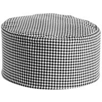 Mercer Culinary Millennia® Customizable Houndstooth Baker's Skull Cap / Pill Box Hat - Regular Size