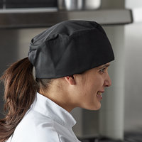 Mercer Culinary Millennia® M60075 Customizable Black Baker's Skull Cap / Pill Box Hat - Regular Size