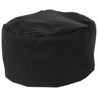 Mercer Culinary Millennia® Customizable Black Mesh Top Baker's Skull Cap / Pill Box Hat - Regular Size