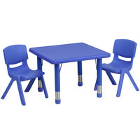 Flash Furniture YU-YCX-0023-2-SQR-TBL-BLUE-R-GG 24 inch Blue Plastic Square Adjustable Height Activity Table with 2 Chairs