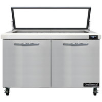 Continental Refrigerator SW48N18M-HGL 48 inch 2 Door Mighty Top Refrigerated Sandwich Prep Table with Hinged Glass Lid