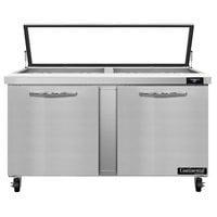 Continental Refrigerator SW60N24M-HGL 60 inch 2 Door Mighty Top Refrigerated Sandwich Prep Table with Hinged Glass Lid