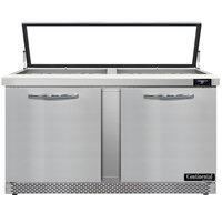 Continental Refrigerator SW60N24M-HGL-FB 60 inch 2 Door Mighty Top Front Breathing Hinged Glass Lid Refrigerated Sandwich Prep Table