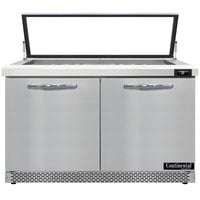 Continental Refrigerator SW48N18M-HGL-FB 48 inch 2 Door Mighty Top Front Breathing Hinged Glass Lid Refrigerated Sandwich Prep Table