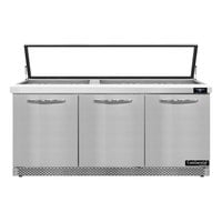 Continental Refrigerator SW72N30M-HGL-FB 72 inch 3 Door Mighty Top Front Breathing Hinged Glass Lid Refrigerated Sandwich Prep Table