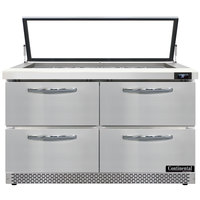 Continental Refrigerator SW48N18M-HGL-FB-D 48 inch 4 Drawer Mighty Top Front Breathing Hinged Glass Lid Refrigerated Sandwich Prep Table