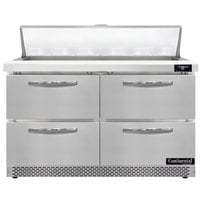 Continental Refrigerator SW48N12-FB-D 48 inch 4 Drawer Front Breathing Refrigerated Sandwich Prep Table