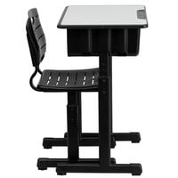 Flash Furniture YU-YCX-046-09010-GG Black Adjustable Height Student Desk and Chair