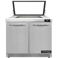 Continental Refrigerator SW36-N-12M-HGL-FB 36 inch 2 Door Mighty Top Front Breathing Hinged Glass Lid Refrigerated Sandwich Prep Table