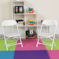 Flash Furniture Y-KID-WH-GG White Kids Plastic Folding Chair