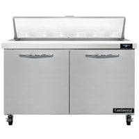 Continental Refrigerator SW48-N-12 48 inch 2 Door Refrigerated Sandwich Prep Table