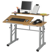 Safco 3965MO Medium Oak Adjustable Split Level Drafting Table