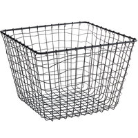 GET WB-305-MG Breeze 11 inch x 8 inch Square Metal Gray Storage and Display Basket