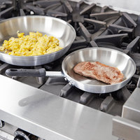 Carlisle 60708RS SSAL 8 inch Steel Interior and Aluminum Body Fry Pan with Black Dura-Kool Handle