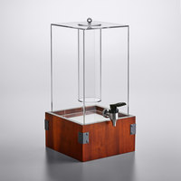 GET Enterprises Urban Renewal 3 Gallon Beverage Dispenser with Ice Chamber and 5 inch Walnut Square Riser