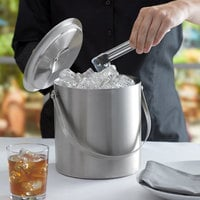 Franmara 9284 Jamboree Double Wall Brushed Stainless Steel 3 Qt. Ice Bucket with Lid and Tong