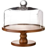 The Jay Companies American Atelier 9 inch Madera Wood Cake Stand with Glass Dome Cover