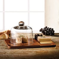 The Jay Companies American Atelier 12 inch x 7 15/16 inch x 6 3/16 inch Madera Wood Cheese Board with Glass Dome Cover