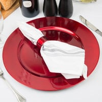 Tabletop Classics by Walco TR-6620 13 inch Red Metallic Round Plastic Charger Plate