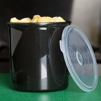 Carlisle 034103 Black 1.2 Qt. Poly-Tuf Round Crock with Lid