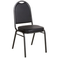 Lancaster Table & Seating Black Stackable Banquet Chair with 2 inch Padded Seat and Silver Vein Frame