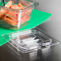 Cambro 60CWCHN135 Camwear 1/6 Size Clear Polycarbonate Handled Lid with Spoon Notch