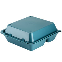 GET EC-01 9 inch x 9 inch x 3 1/2 inch Aqua Customizable 3-Compartment Reusable Eco-Takeouts Container   - 12/Case