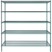 Regency 24 inch x 72 inch NSF Green Epoxy 5-Shelf Kit with 74 inch Posts