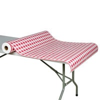 40 inch x 300' Paper Table Cover with Red Gingham Pattern