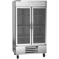 Beverage-Air RB44HC-1G 47 inch Vista Series Two Section Glass Door Reach-In Refrigerator - 44 Cu. Ft.