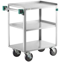 Regency 16 inch x 27 inch Three Shelf 20-Gauge Stainless Steel Utility Cart - Fully Welded