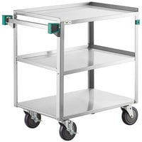 Regency 19 inch x 31 inch Three Shelf 18-Gauge Stainless Steel Utility Cart - Knocked Down