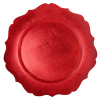 The Jay Companies 1182766R 13 inch Round Red Scalloped Edge Plastic Charger Plate