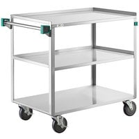 Regency 22 inch x 39 inch Three Shelf 18-Gauge Stainless Steel Utility Cart - Fully Welded