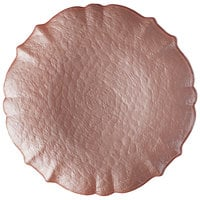 The Jay Companies 1470460 13 inch Pink Blush Ice Queen Glass Scalloped Edge Charger Plate