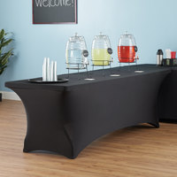 Lancaster Table & Seating 96 inch x 30 inch Folding Table with Black Stretch Cover