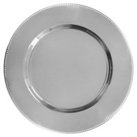 The Jay Companies 1810200-4 13 inch Silver Metal Charger Plate with Beaded Rim