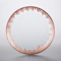 The Jay Companies 1875010 13 inch Selene Clear Glass Charger Plate with Copper Rim