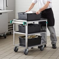 Regency 19 inch x 31 inch Three Shelf 18-Gauge Stainless Steel Utility Cart - Fully Welded